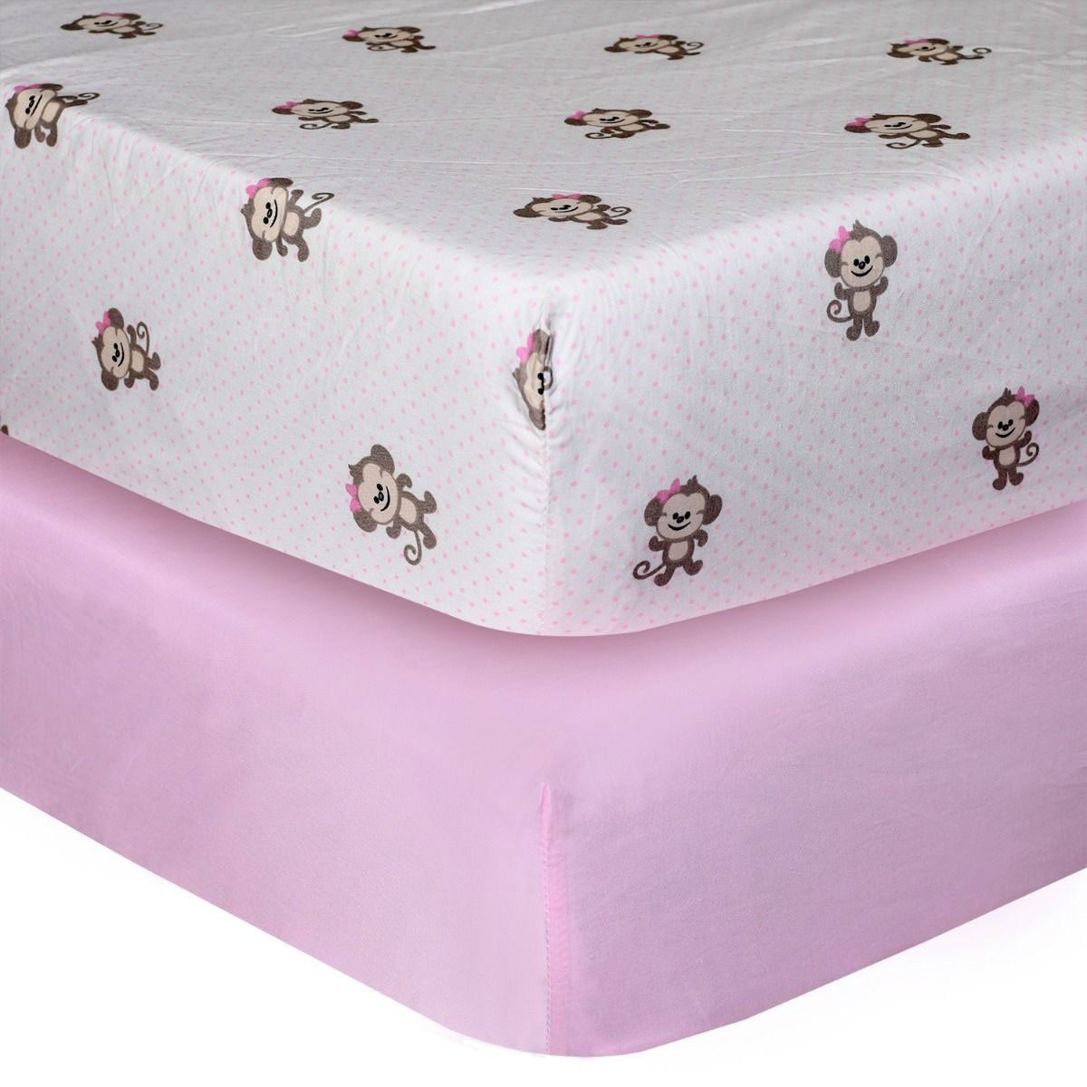 Monkey Pink Crib Sheets 2 Pack