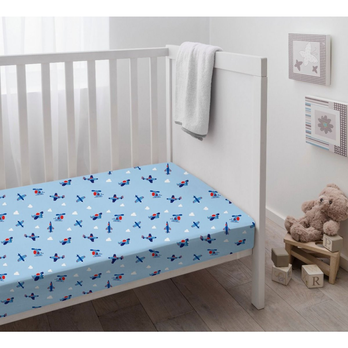 Flight Blue Crib Sheets 2 Pack