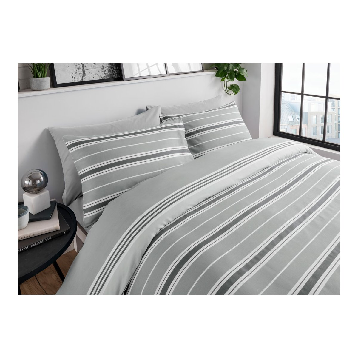 Banded Grey Bedding - Reversible Duvet Cover and Pillowcase Set