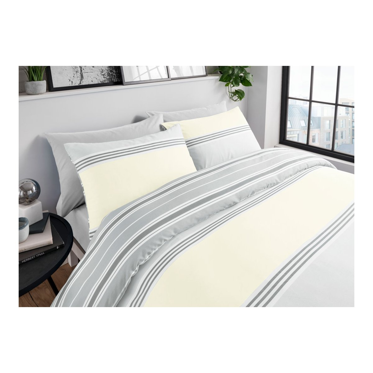 Banded Stripe Grey/Yellow Bedding - Reversible Duvet Cover and Pillowcase Set