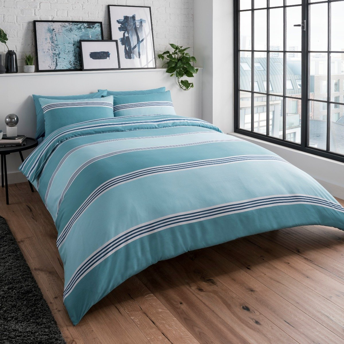 Banded Stripe Teal Bedding - Reversible Duvet Cover and Pillowcase Set