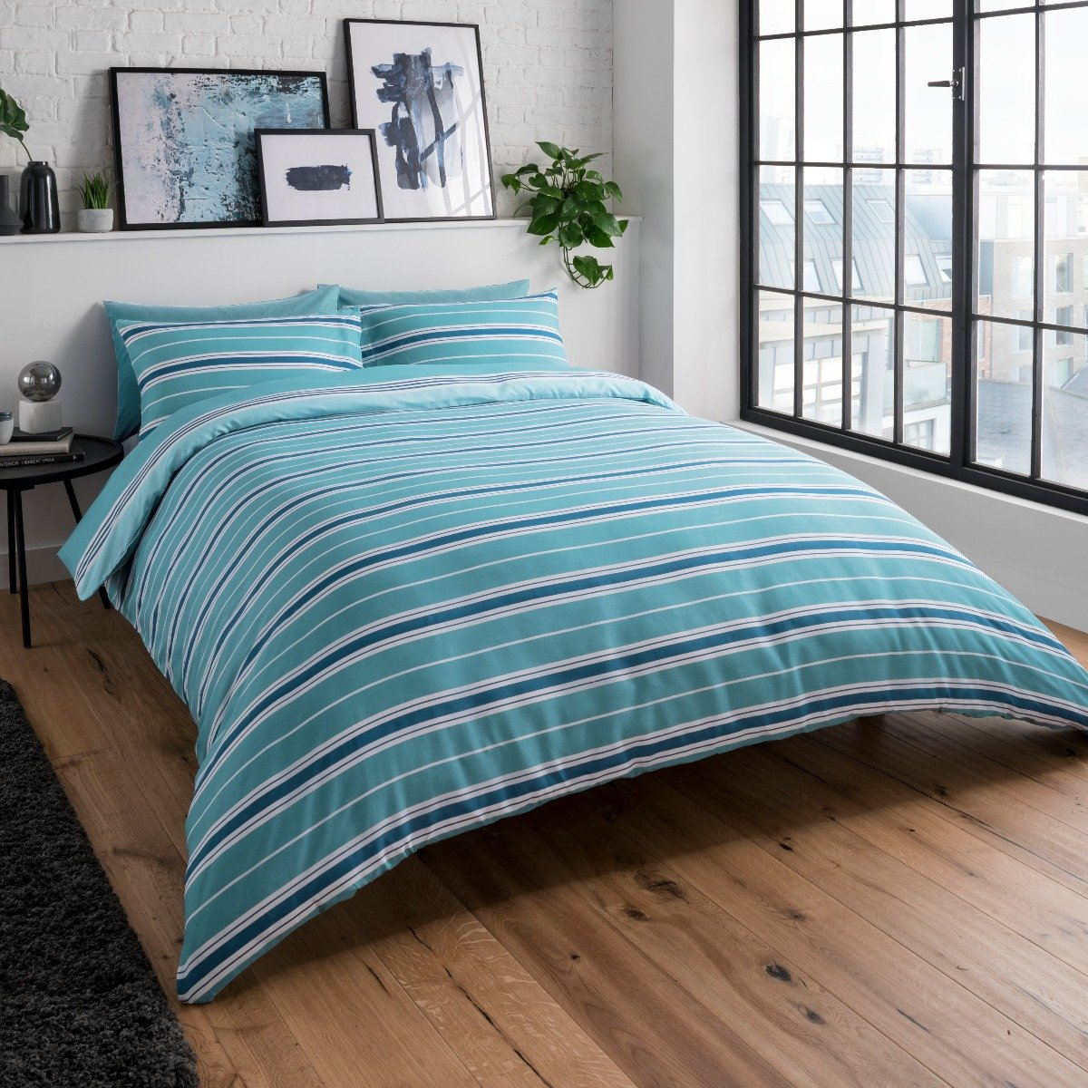 Banded Stripe Teal Bedding Set Sleepdown Official Uk Duvet Cover Sets Bedding Linen
