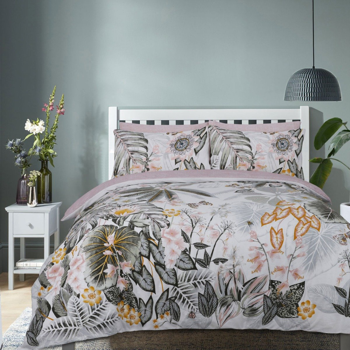 Botanical Tropics Green Bedding - Reversible Duvet Cover and Pillowcase Set