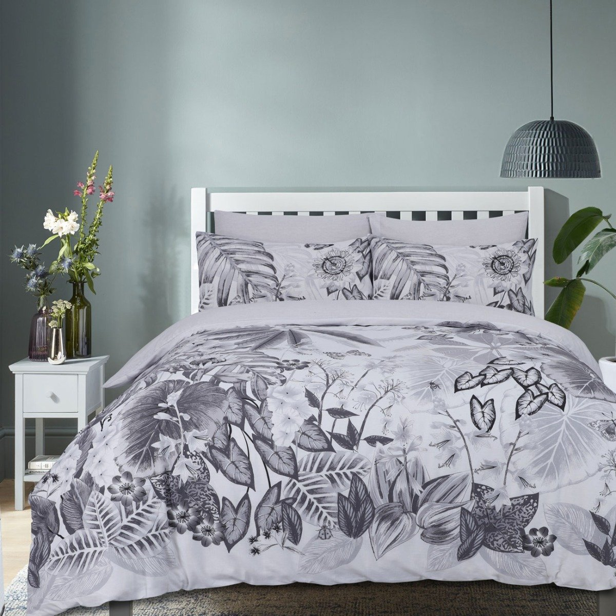 Botanical Tropic Grey Bedding - Reversible Duvet Cover and Pillowcase Set