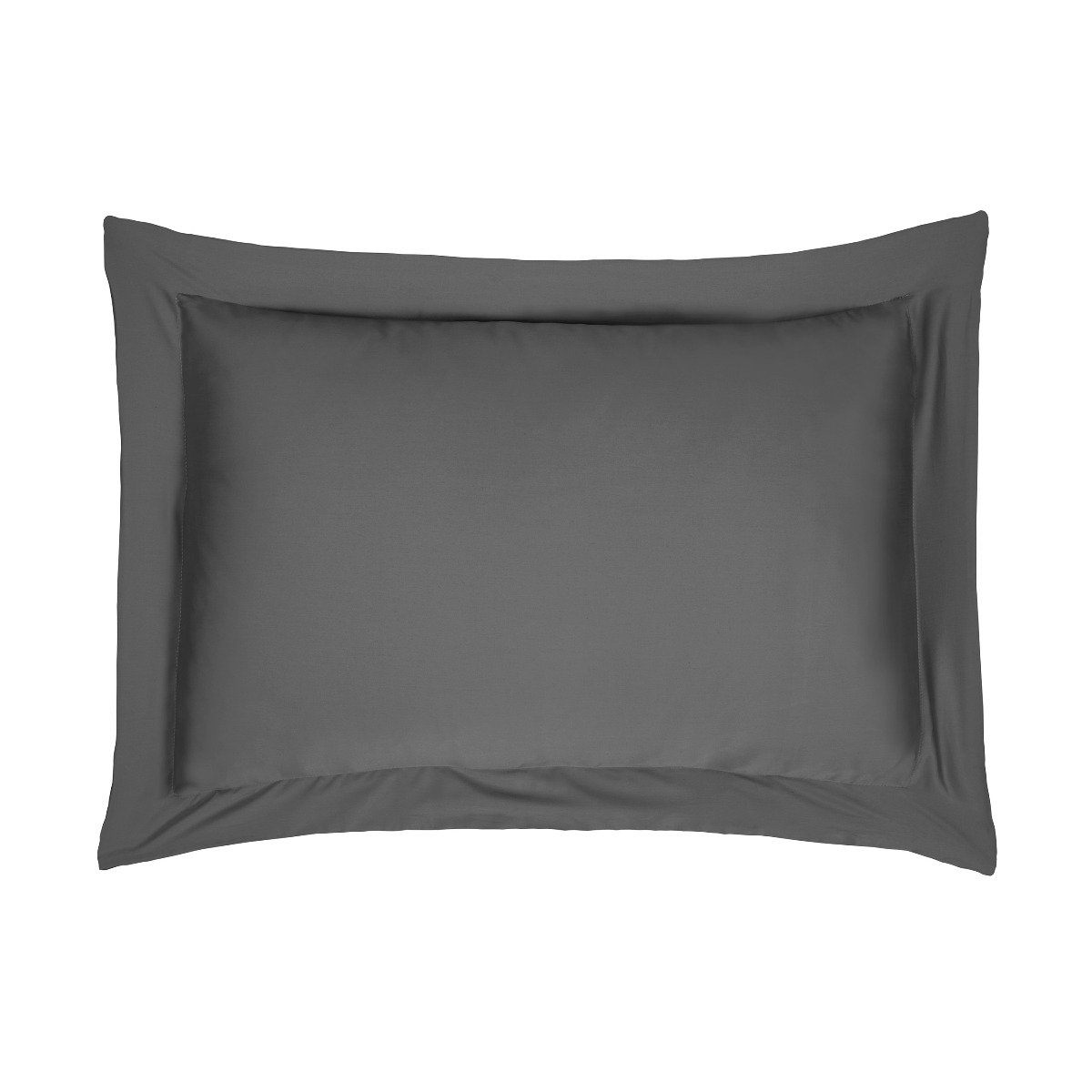 Sleepdown Pillowcase 100% Cotton Sateen Pack of Two Oxford Pillow Cover Set Anti-Allergy 300 Thread Count Luxury Bed Linen - Charcoal - 50 x 75cm