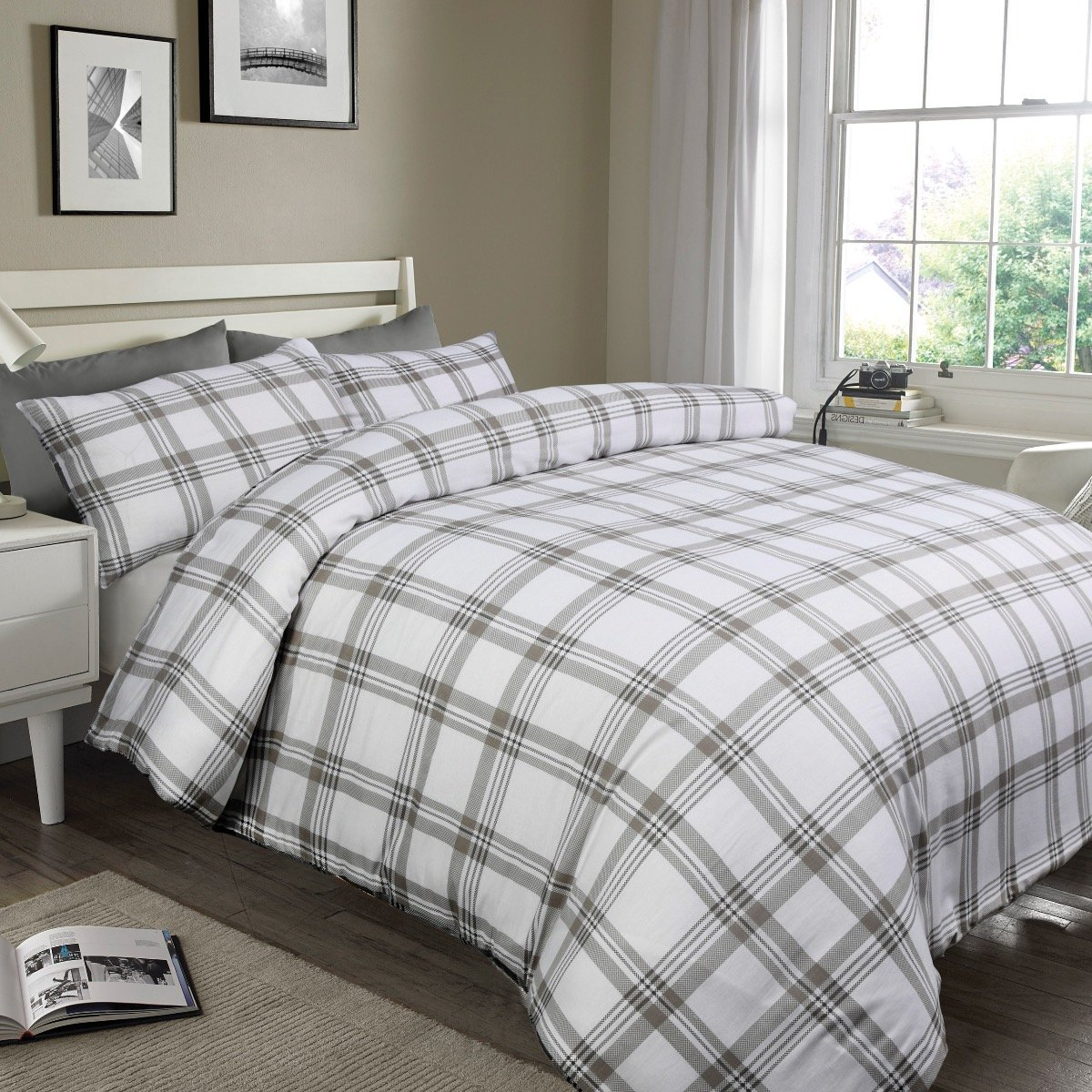 Check Grey Bedding - Reversible Duvet Cover and Pillowcase Set