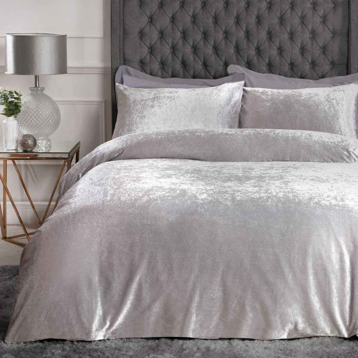 Crushed Velvet Bedding Set Sleepdown Official Uk Duvet Cover Sets Bedding Linen