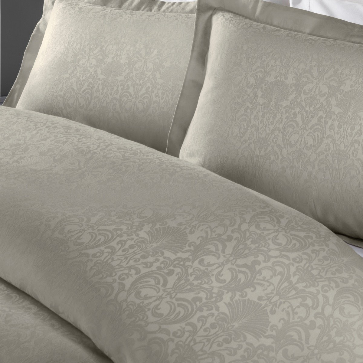 Damask Jacquard Taupe Bedding - Reversible Duvet Cover and Pillowcase Set