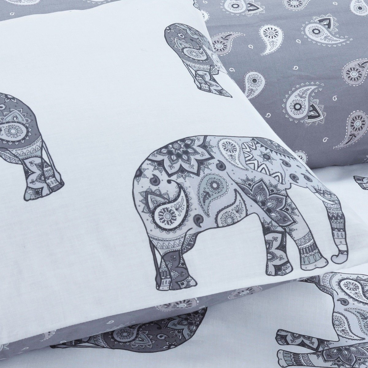 Elephant Grey Bedding - Reversible Duvet Cover and Pillowcase Set
