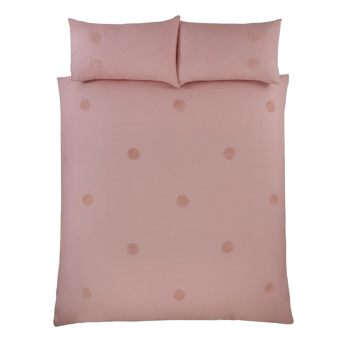 Embroidered Circles Blush Bedding - Duvet Cover and Pillowcase Set