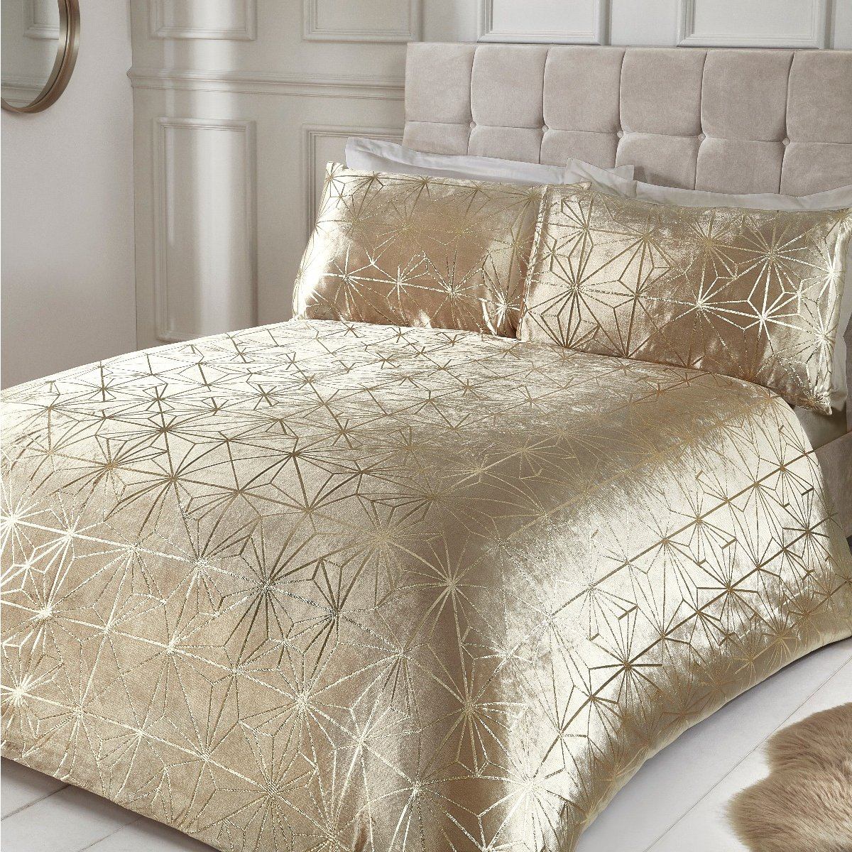 Foil Printed Geo Crushed Gold Velvet Luxury Duvet Cover And Pillowcase Set
