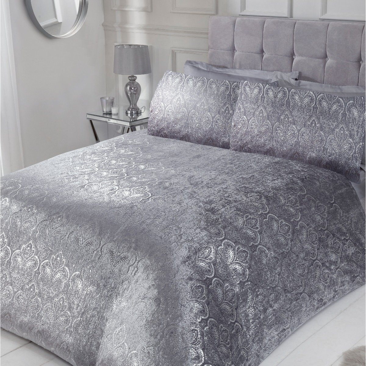 Foil Printed Paisley Crushed Velvet Bedding Silver Luxury Duvet Cover And Pillowcase Set