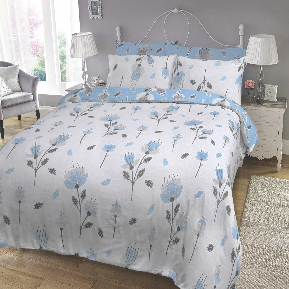Geo Floral Blue Bedding - Reversible Duvet Cover and Pillowcase Set