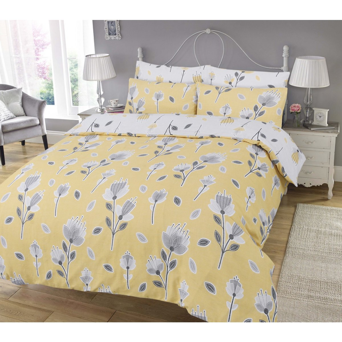 Geo Floral Ochre Bedding - Reversible Duvet Cover and Pillowcase Set