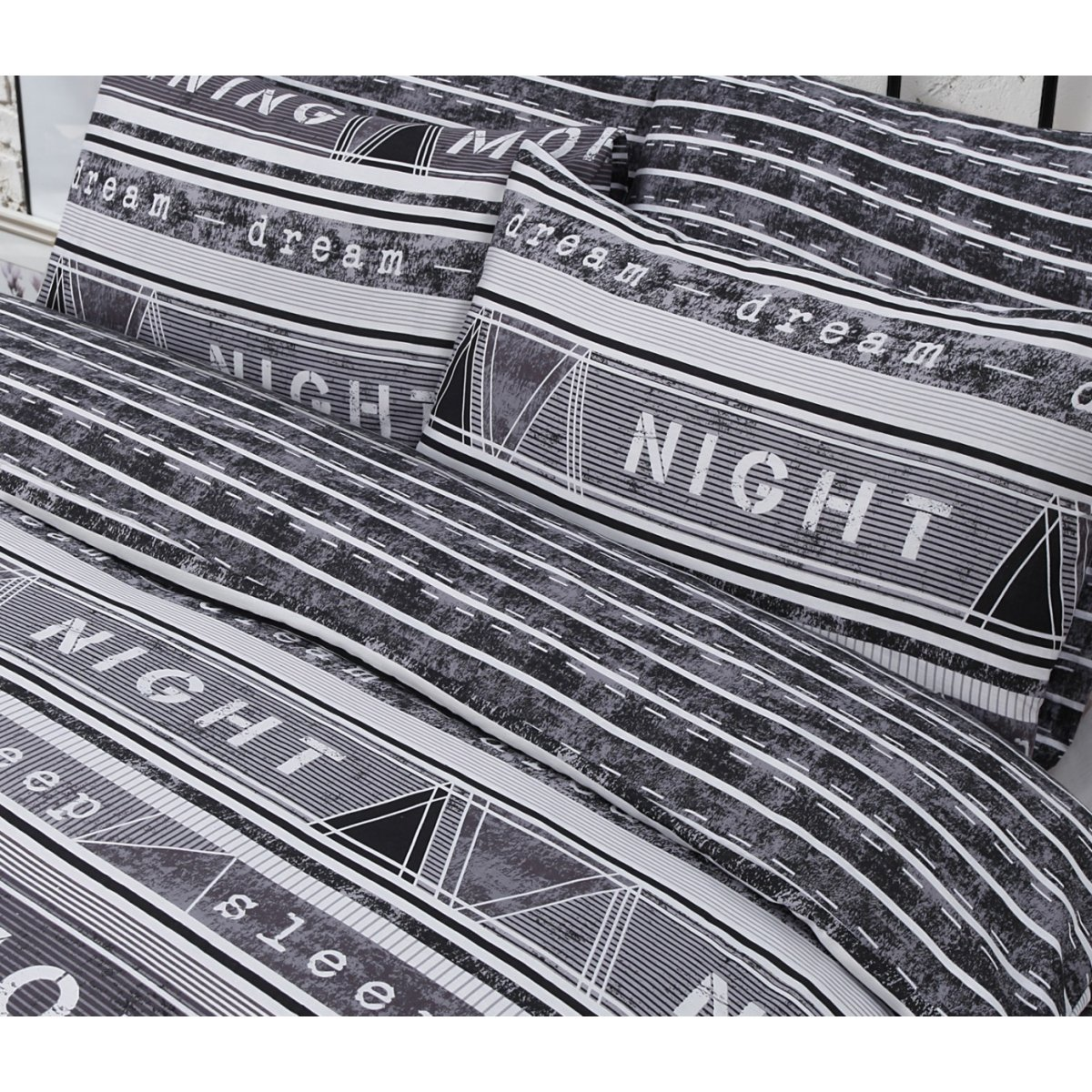Geo Text Black Bedding - Reversible Duvet Cover and Pillowcase Set