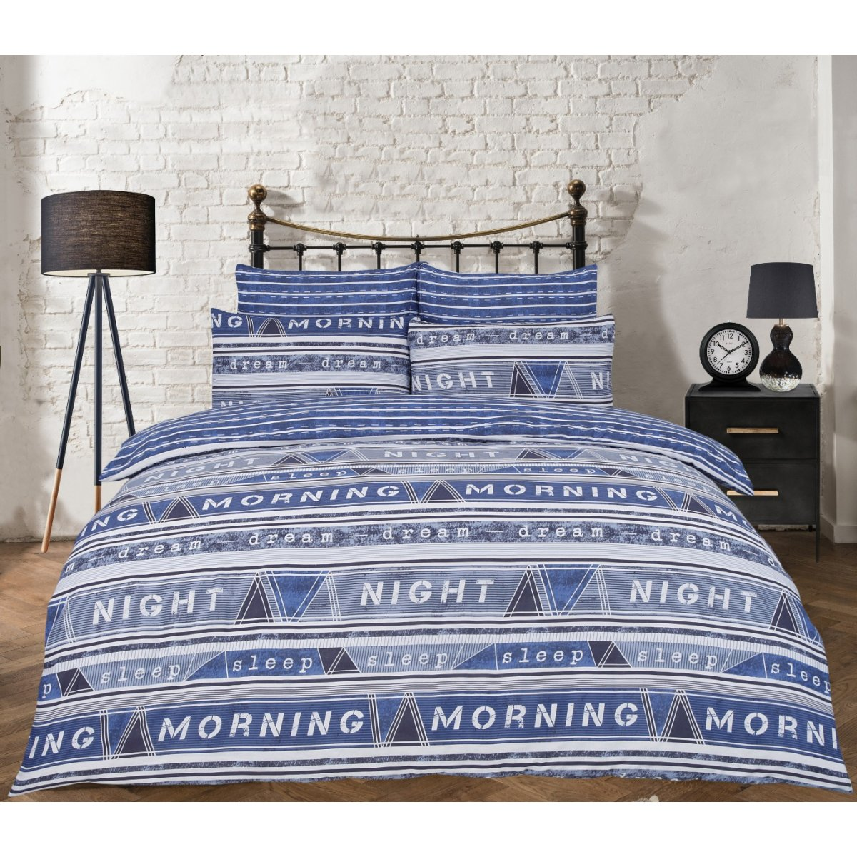 Geo Text Blue Bedding - Reversible Duvet Cover and Pillowcase Set