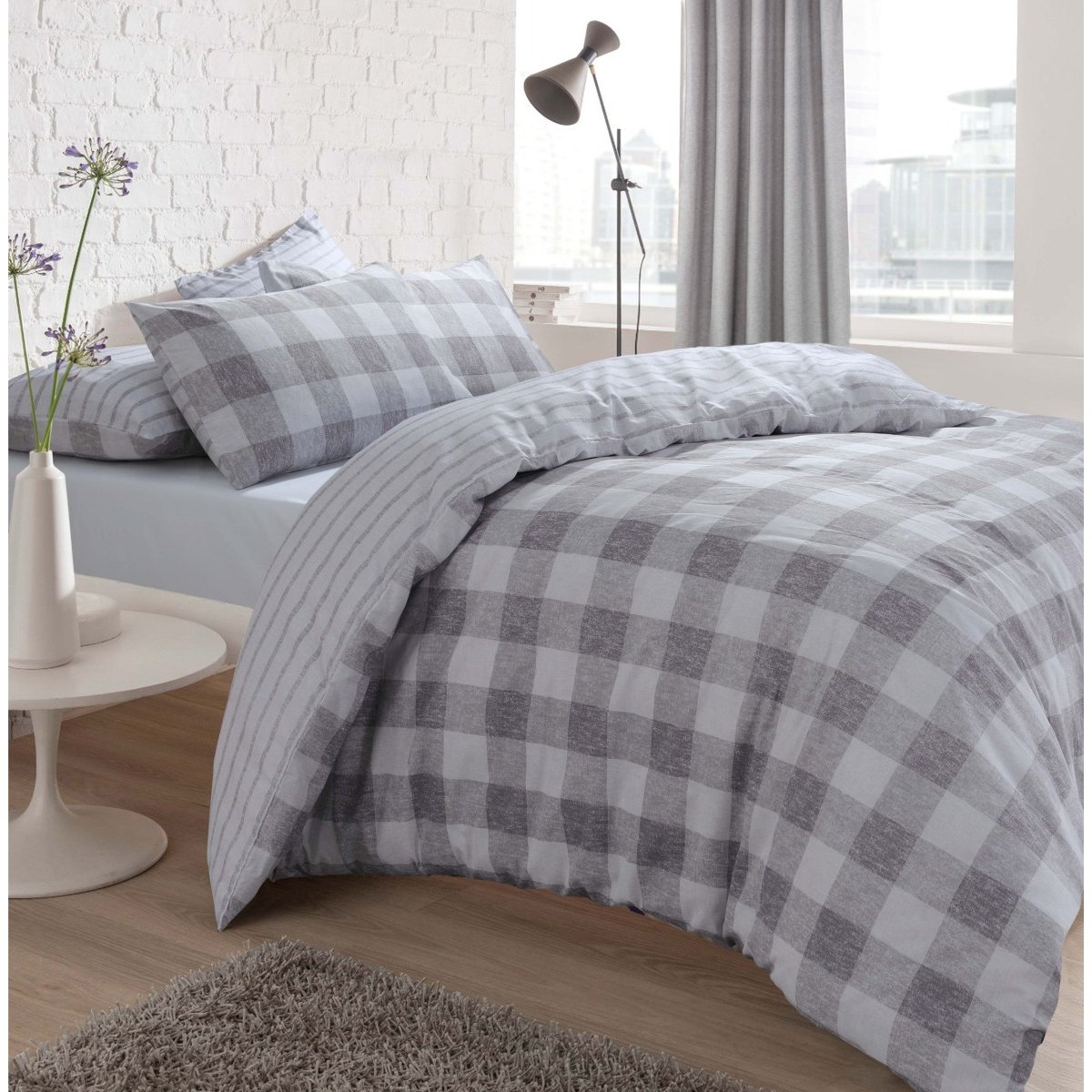 Gingham Check Grey Bedding - Reversible Duvet Cover and Pillowcase Set