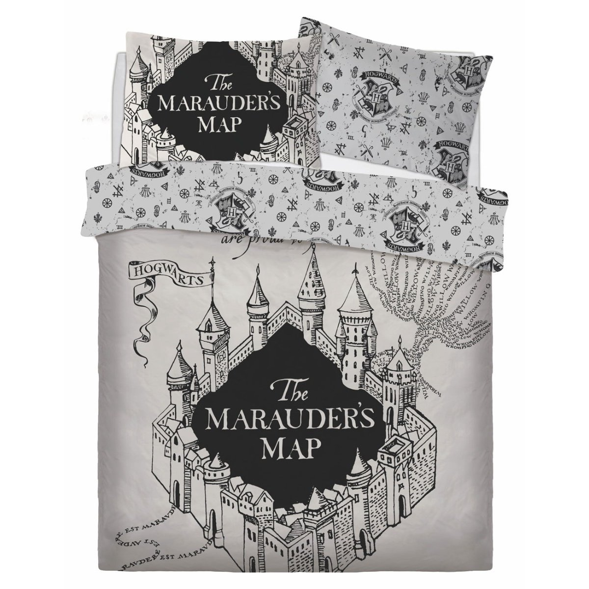 Harry Potter Marauders Map Bedding - Reversible Duvet Cover and Pillowcase Set