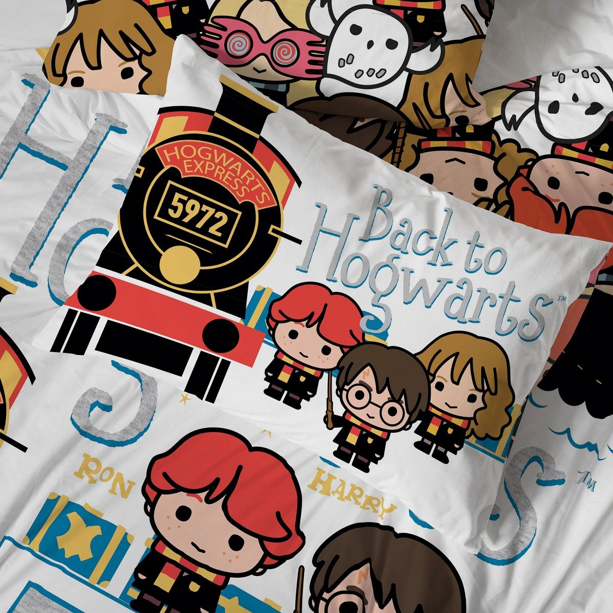 Harry Potter Ticket to School Bedding - Reversible Duvet Cover and Pillowcase Set