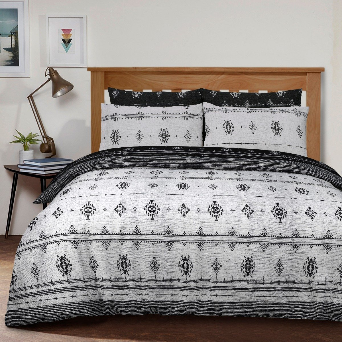 Inka Geo Black Bedding - Reversible Duvet Cover and Pillowcase Set