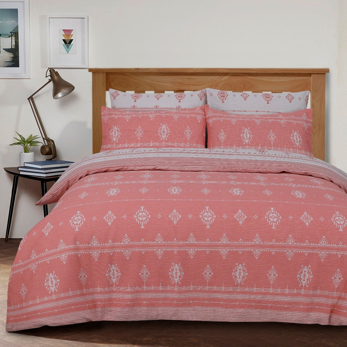 Inka Geo Peach Bedding - Reversible Duvet Cover and Pillowcase Set