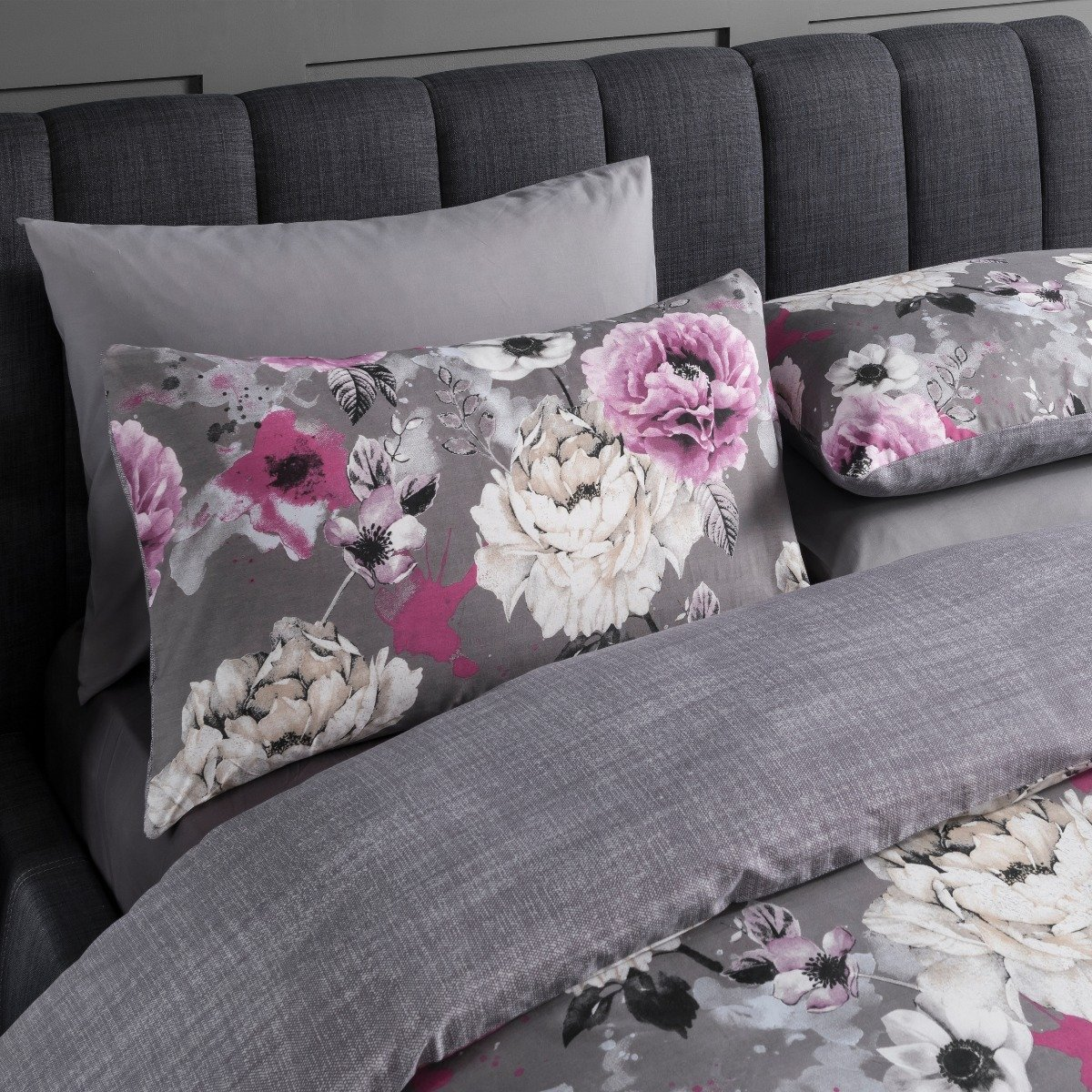 Inky Floral Grey Bedding - Reversible Duvet Cover and Pillowcase Set