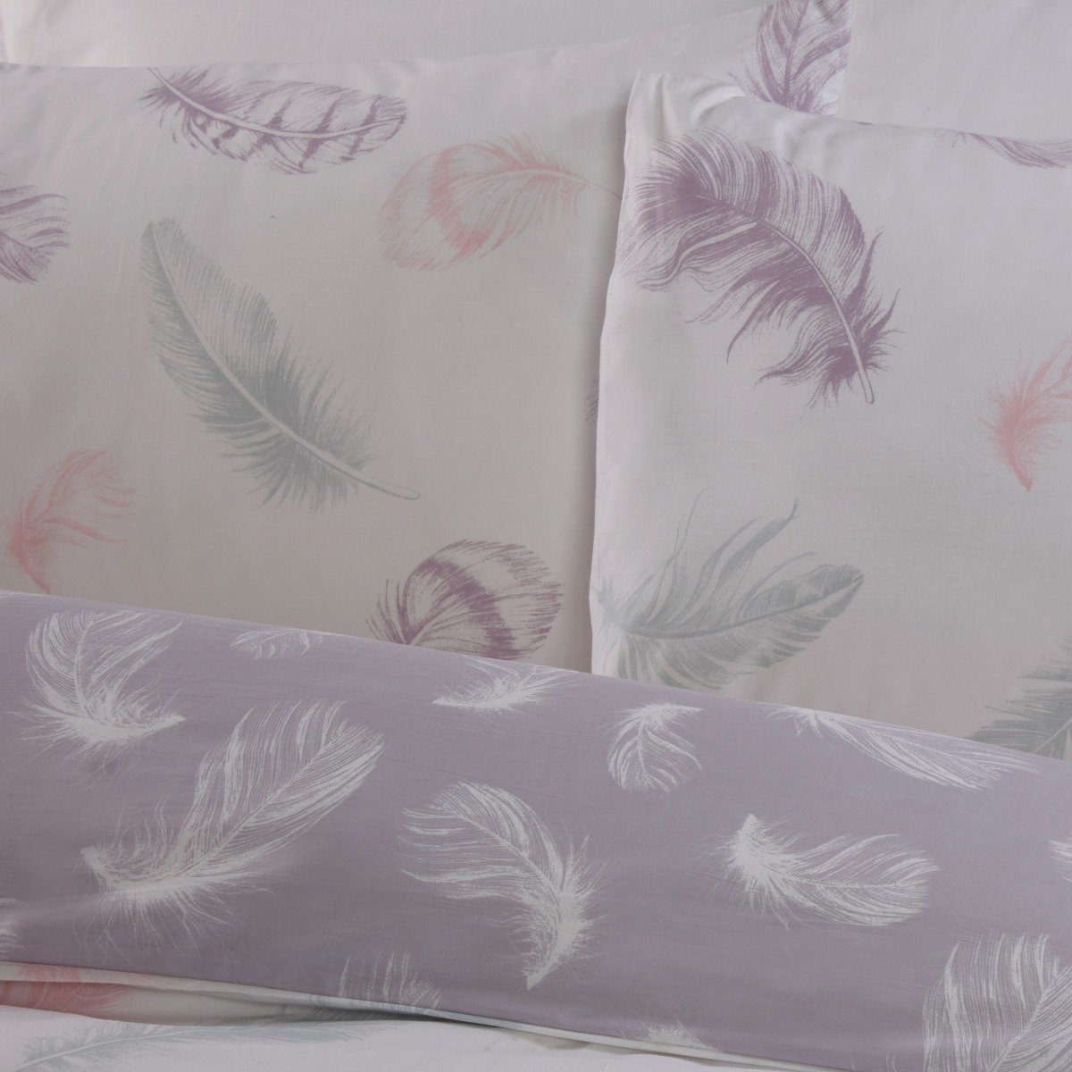 Feather Print Bedding - Cotton Rich 200 Thread Count Duvet Cover and Pillowcase Set