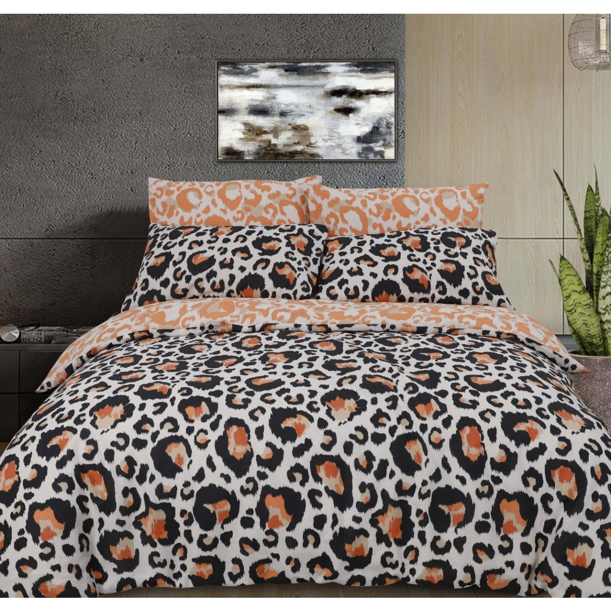 Large leopard Print Natural Bedding - Reversible Duvet Cover and Pillowcase Set