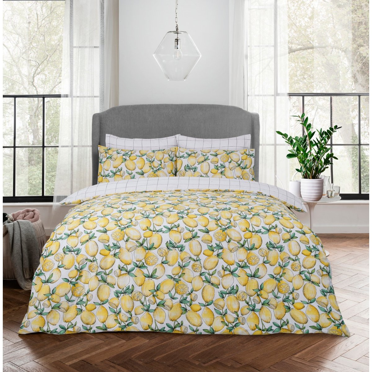 Lemons Yellow Bedding - Reversible Duvet Cover and Pillowcase Set