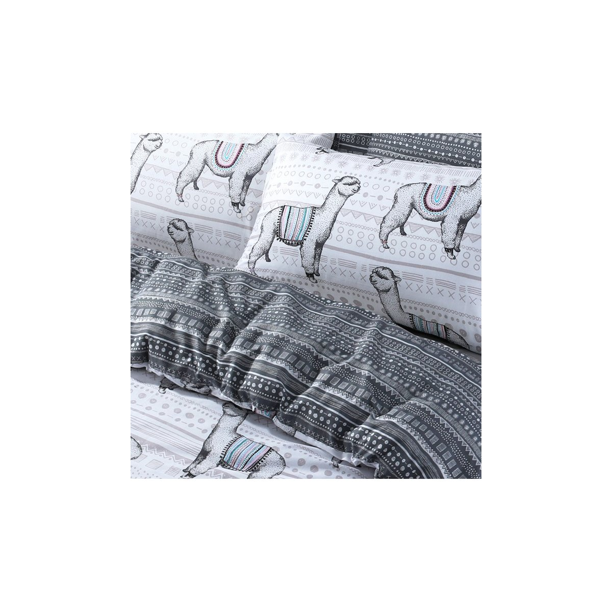 Llamas Bedding - Reversible Duvet Cover and Pillowcase Set