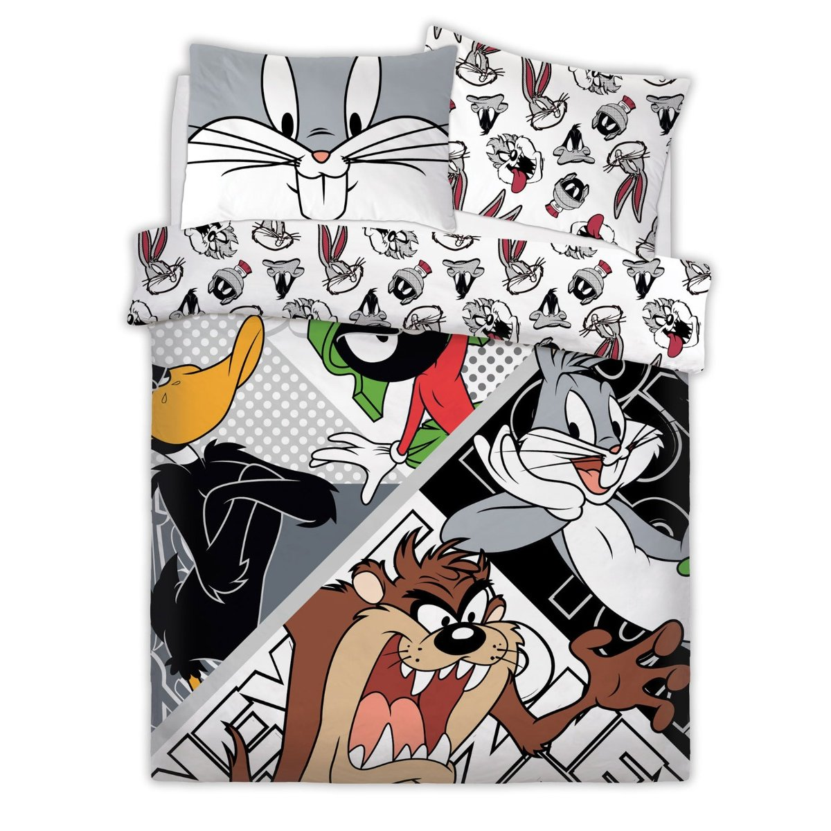Looney Tunes Looney Crew Bedding - Reversible Duvet Cover and Pillowcase Set