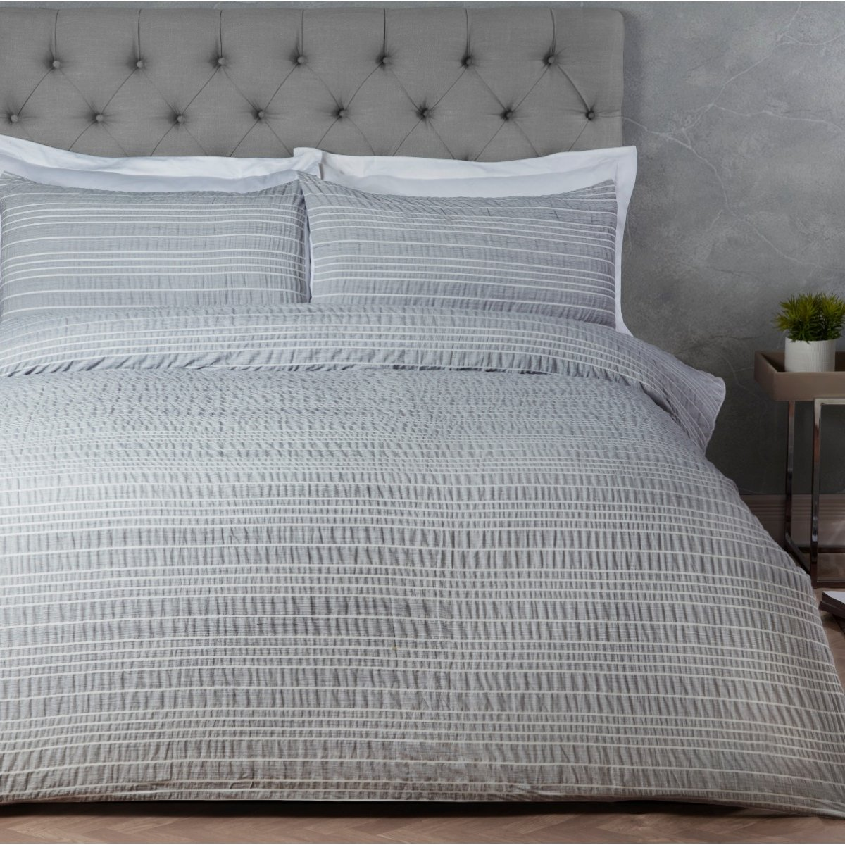 Marl Seersucker Stripe Bedding - Luxury Duvet Cover and Pillowcase Set