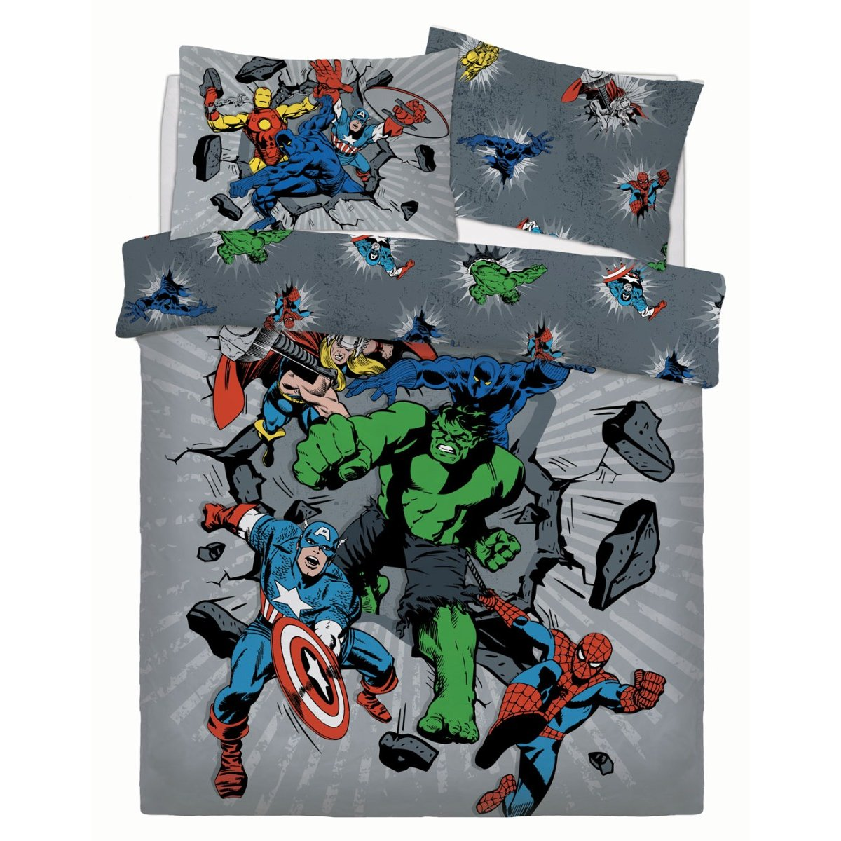 Marvel Break Thru Bedding - Reversible Duvet Cover and Pillowcase Set