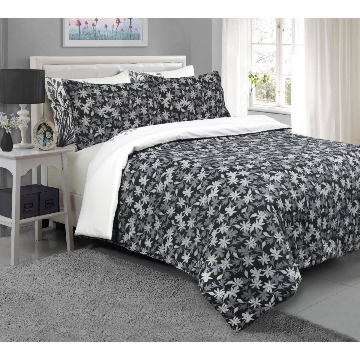Meadow Grey Bedding - Reversible Duvet Cover and Pillowcase Set