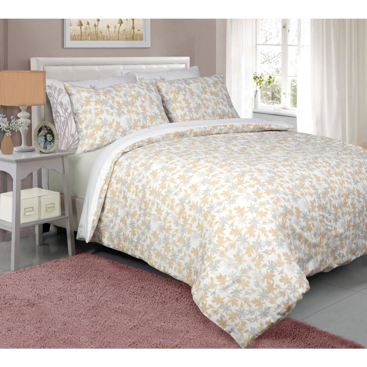 Meadow Natural Bedding - Reversible Duvet Cover and Pillowcase Set