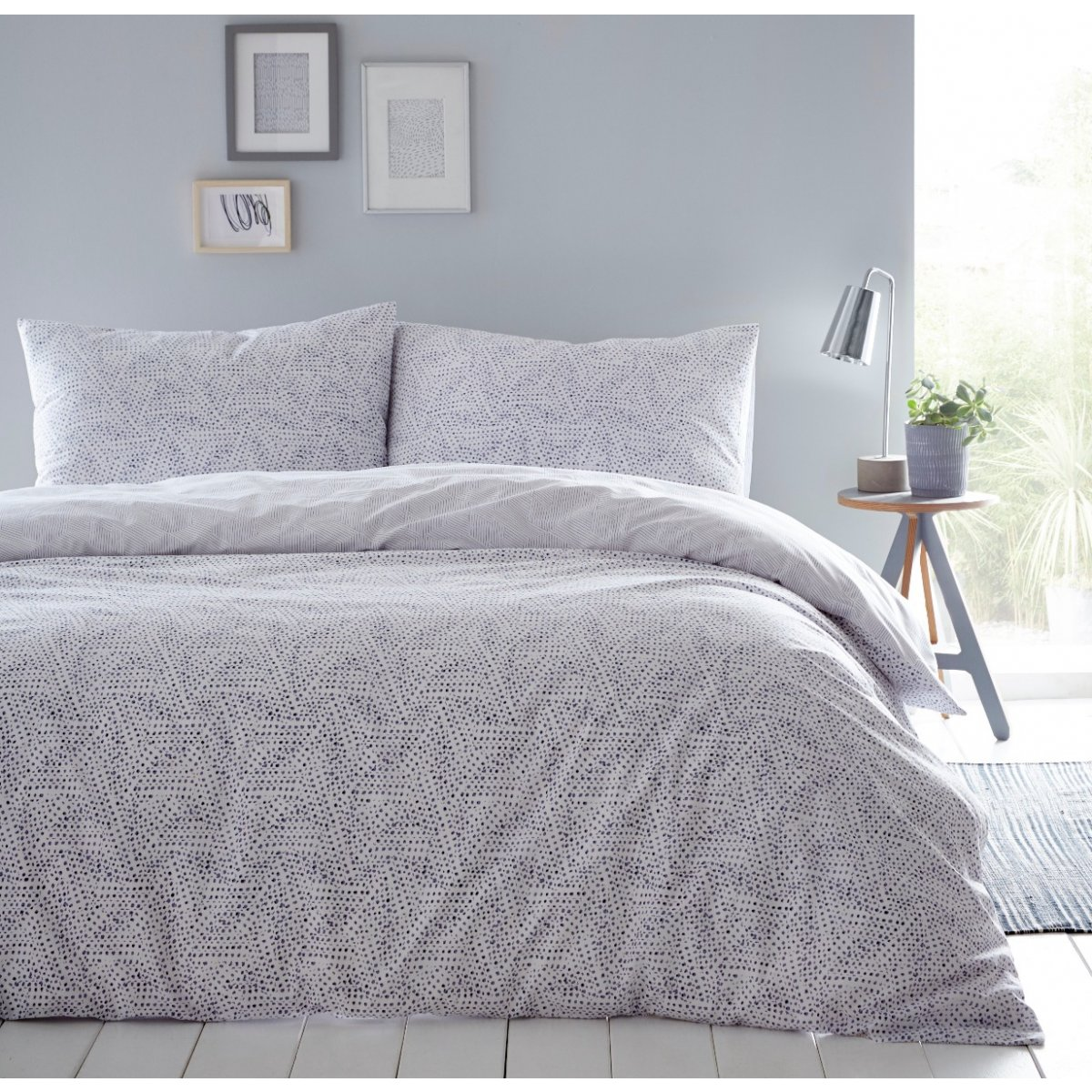 Melody Grey Bedding - Reversible Duvet Cover and Pillowcase Set