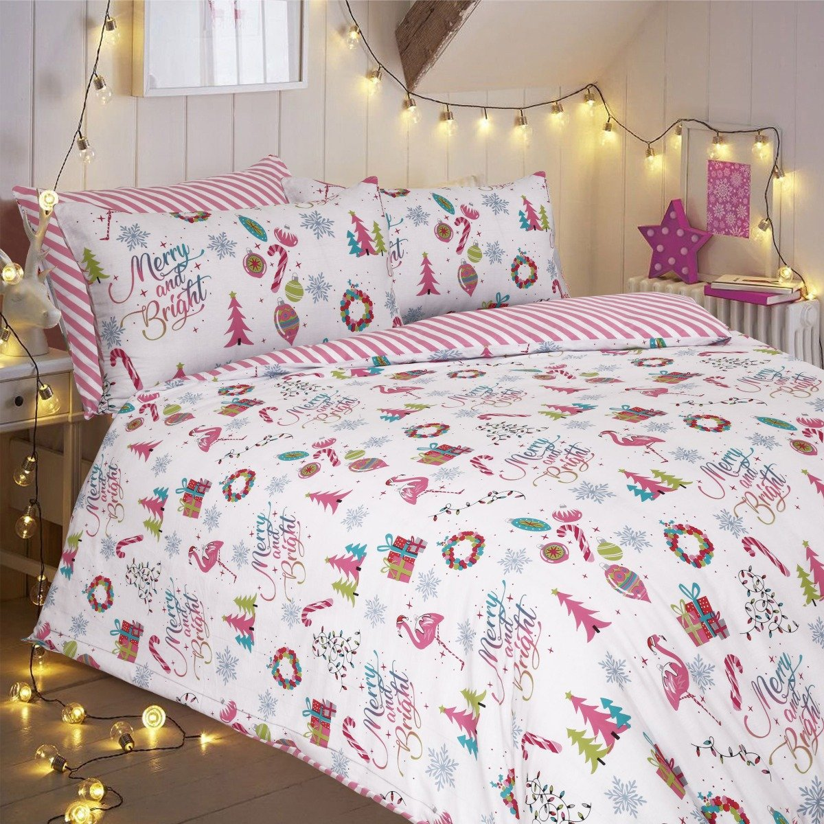 Merry And Bright Pink Bedding Set Sleepdown Official Uk Duvet Cover Sets Bedding Linen