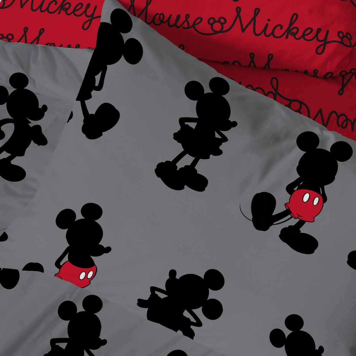 Mickey Mouse Pops of Red Bedding - Reversible Duvet Cover and Pillowcase Set