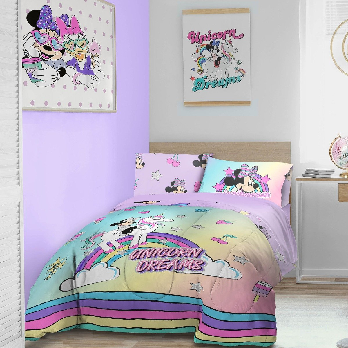 Minnie Mouse Unicorn Bedding - Reversible Duvet Cover and Pillowcase Set