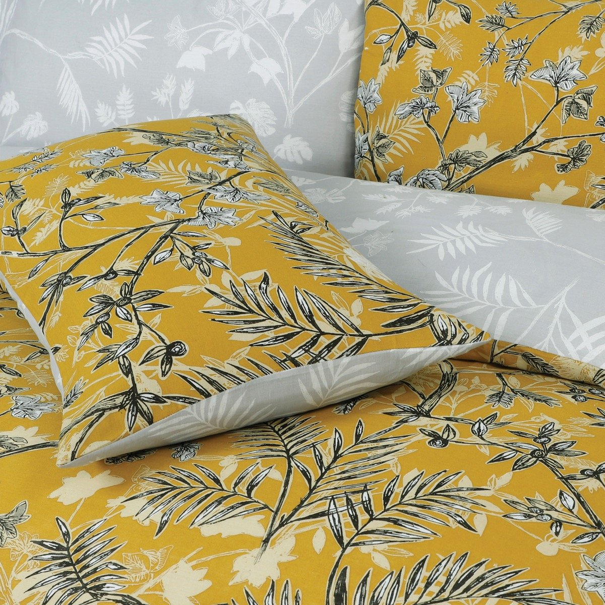 Monkey Trees Mustard Bedding - Reversible Duvet Cover and Pillowcase Set