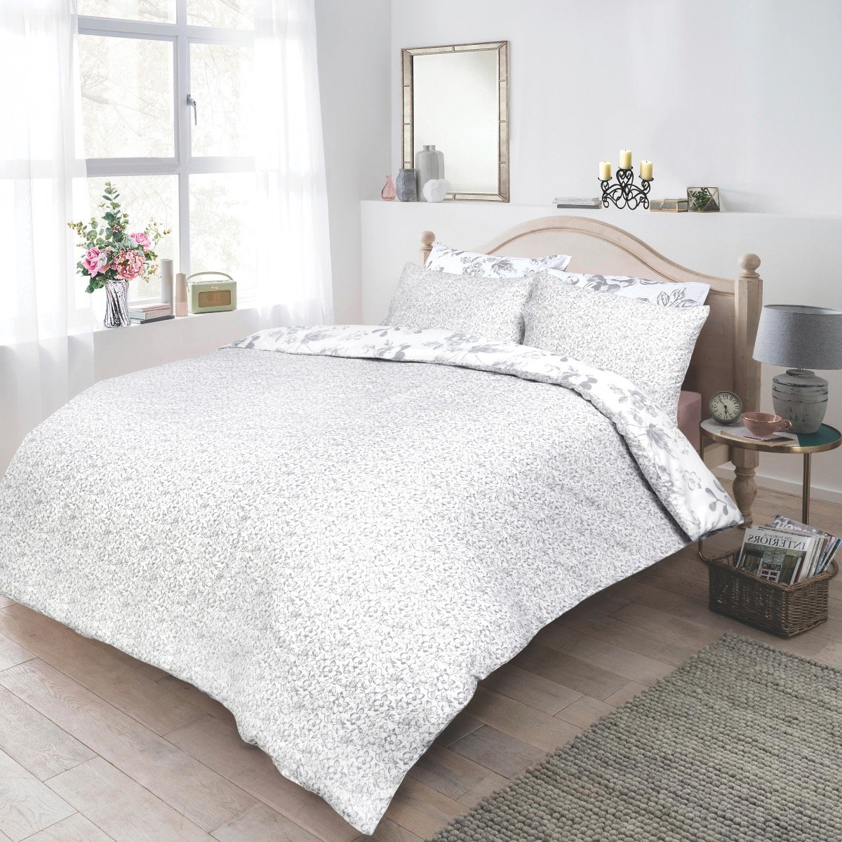 Monochrome Floral Bedding - Reversible Duvet Cover and Pillowcase Set