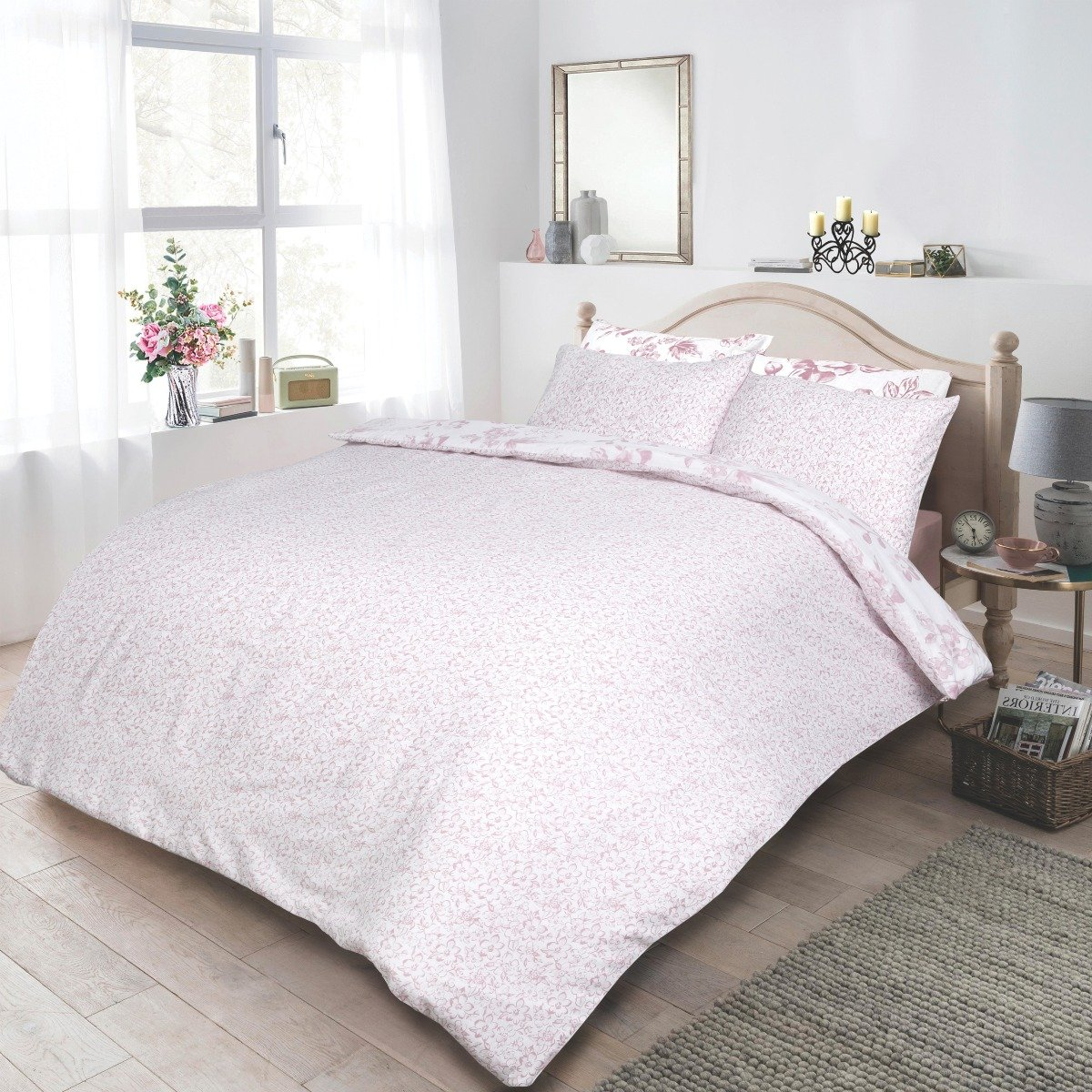 Monochrome Floral Blush Bedding - Reversible Duvet Cover and Pillowcase Set