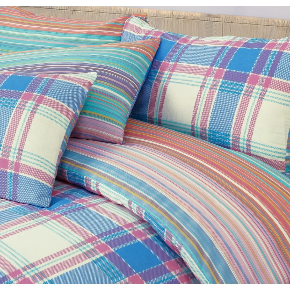 Ombre Check Brights Bedding - Reversible Duvet Cover and Pillowcase Set