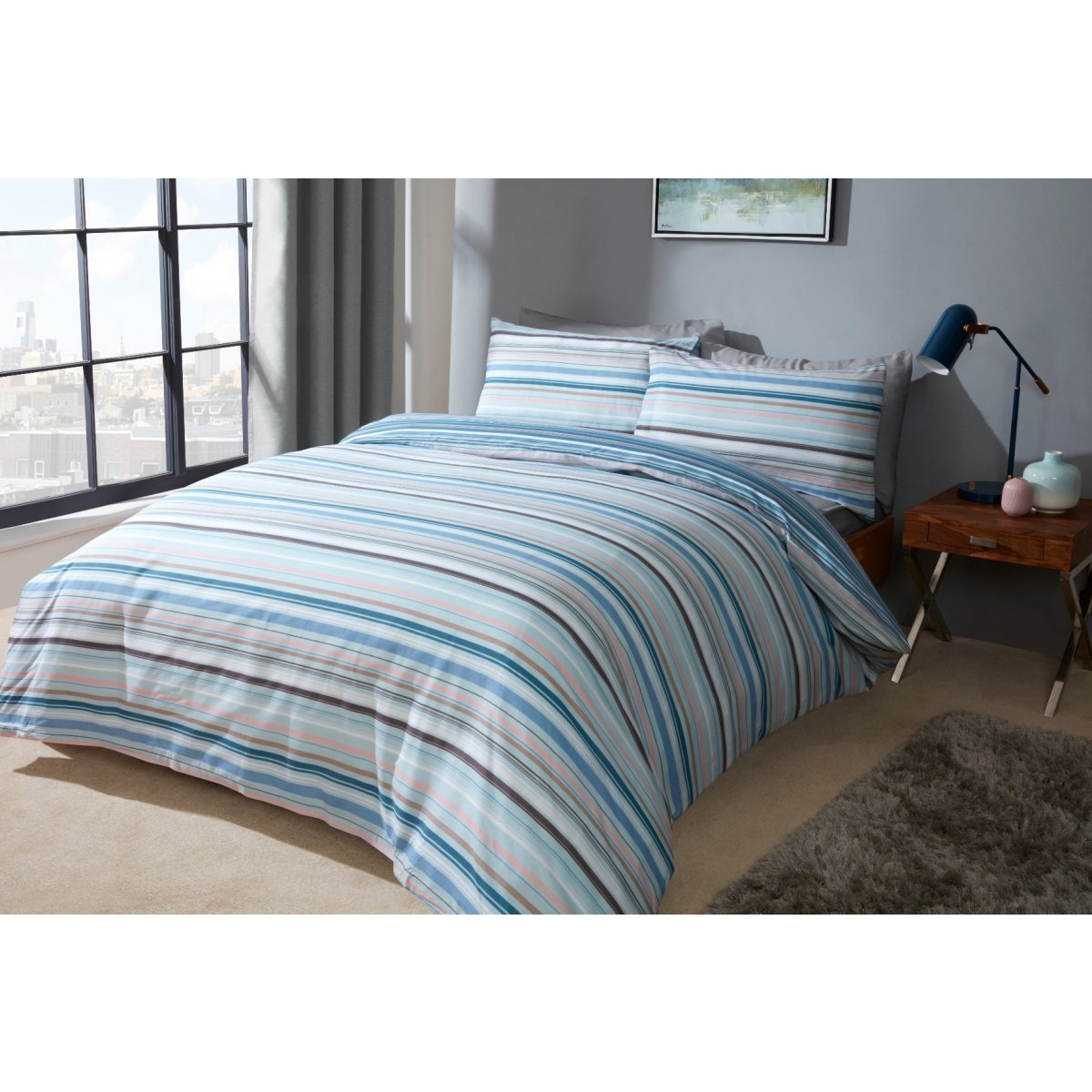 Ombre Stripe Blue Bedding - Reversible Duvet Cover and Pillowcase Set
