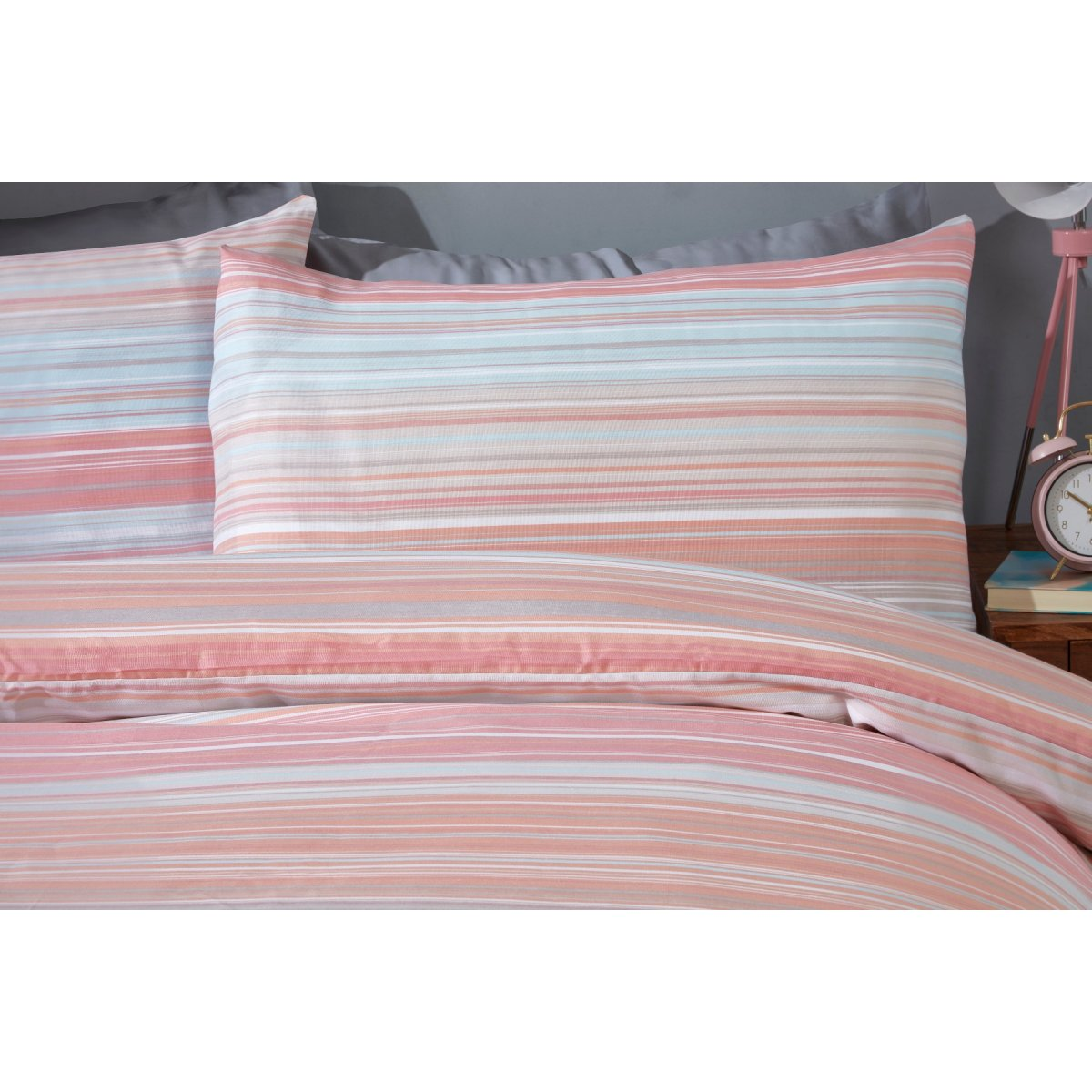 Ombre Stripe Peach Bedding - Reversible Duvet Cover and Pillowcase Set