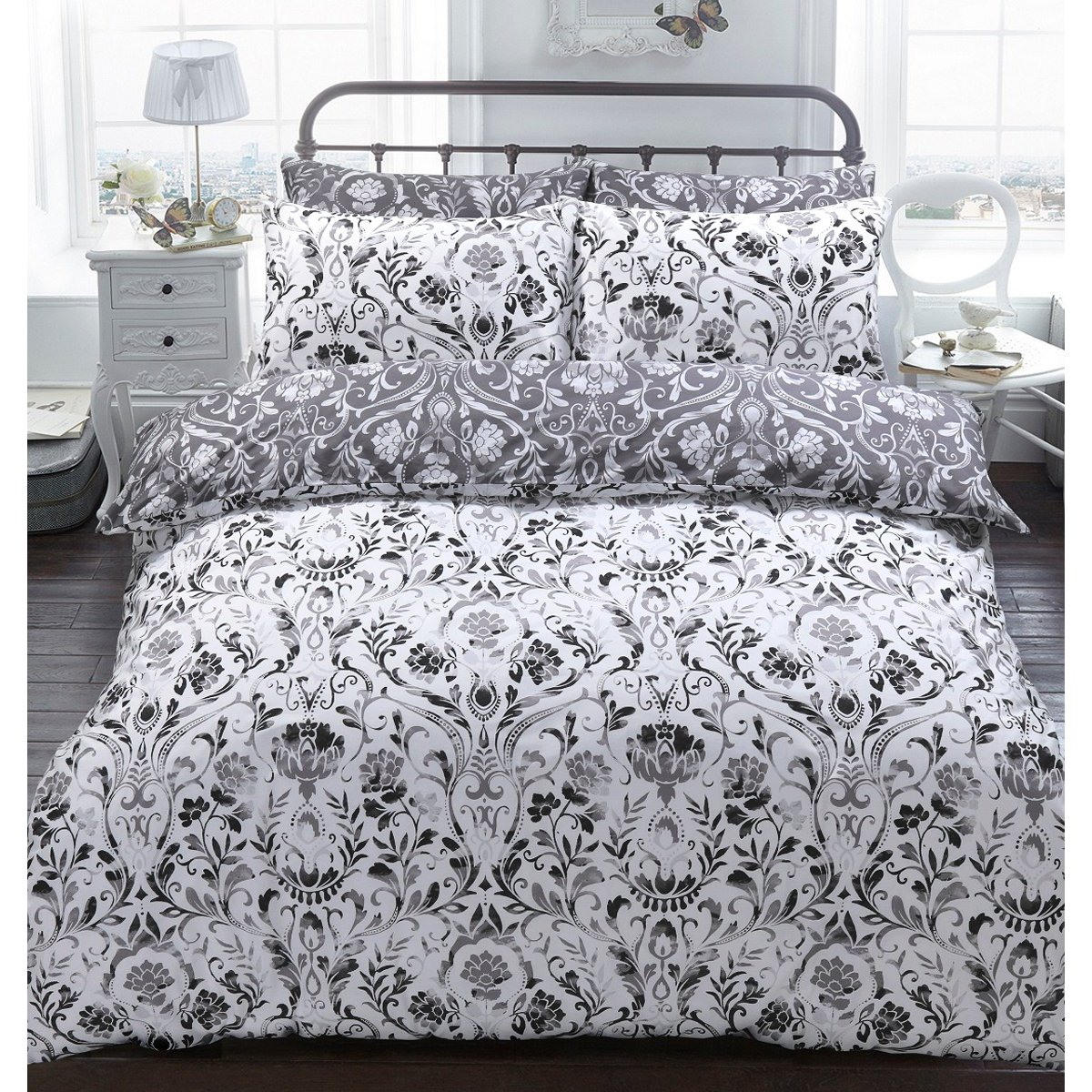 Painted Damask Monochrome Bedding - Reversible Duvet Cover and Pillowcase Set
