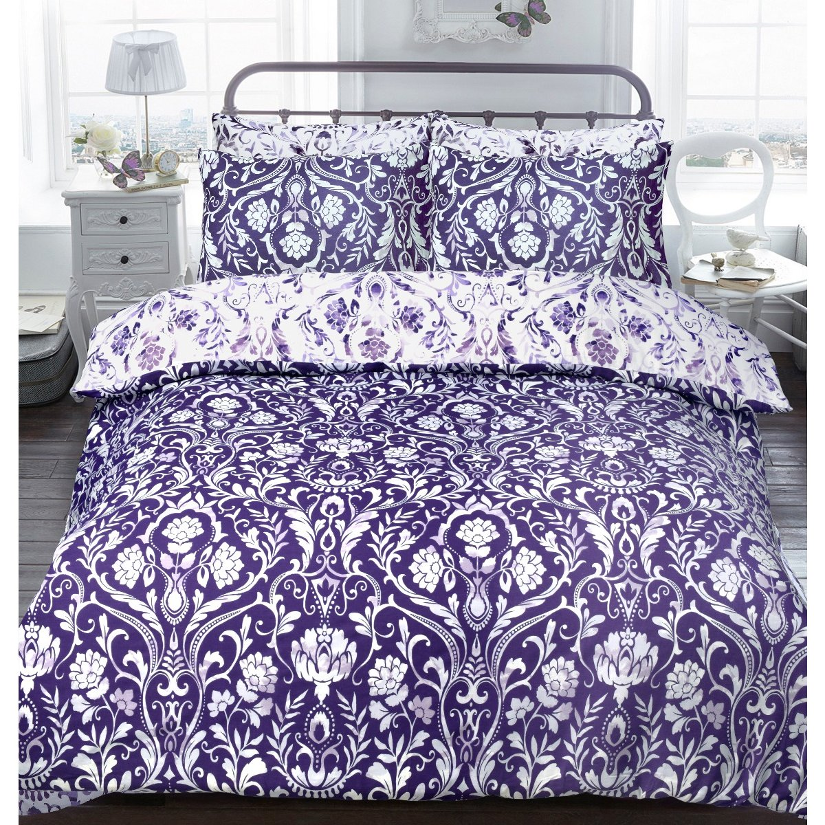 Painted Damask Purple Bedding - Reversible Duvet Cover and Pillowcase Set