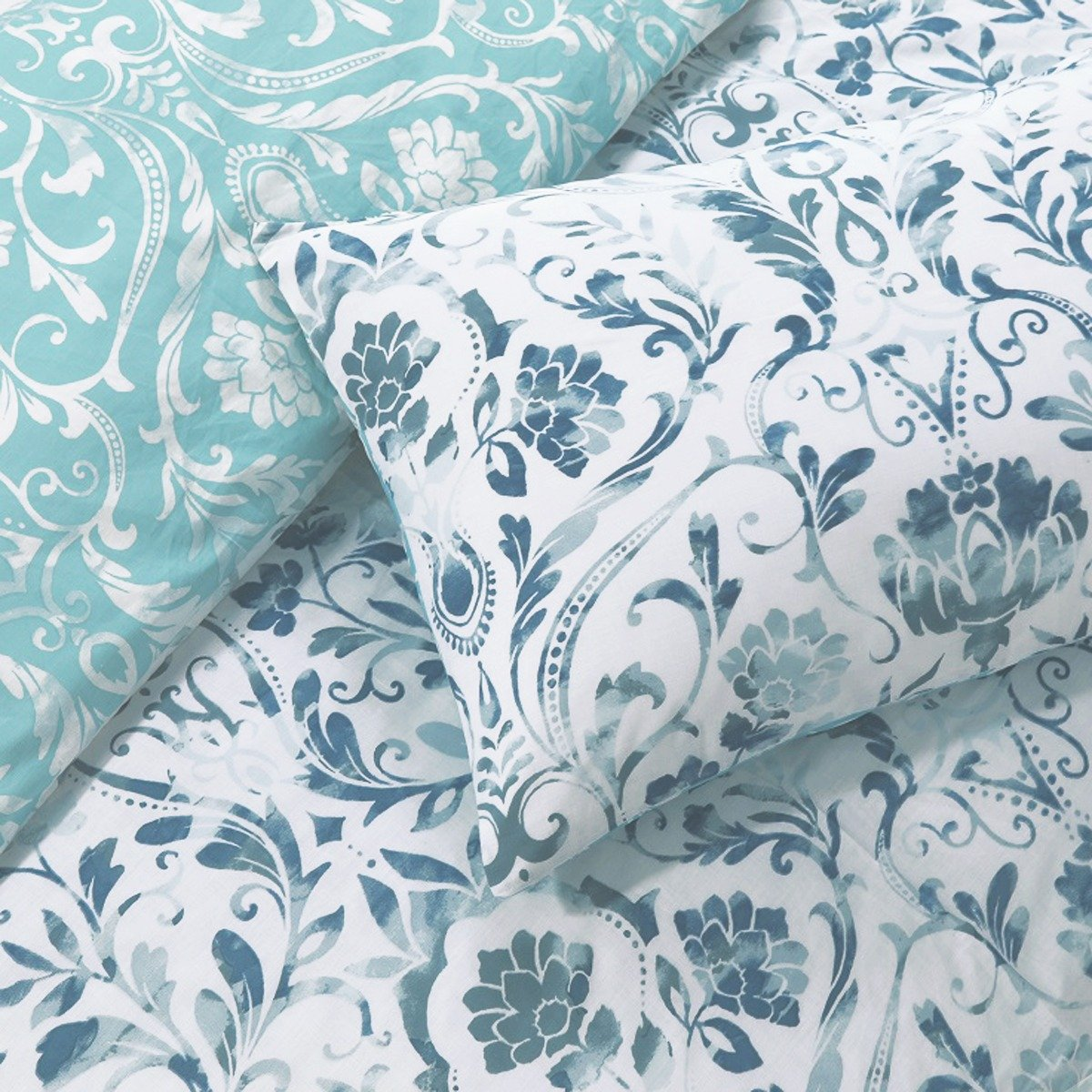 Painted Damask Teal Bedding - Reversible Duvet Cover and Pillowcase Set