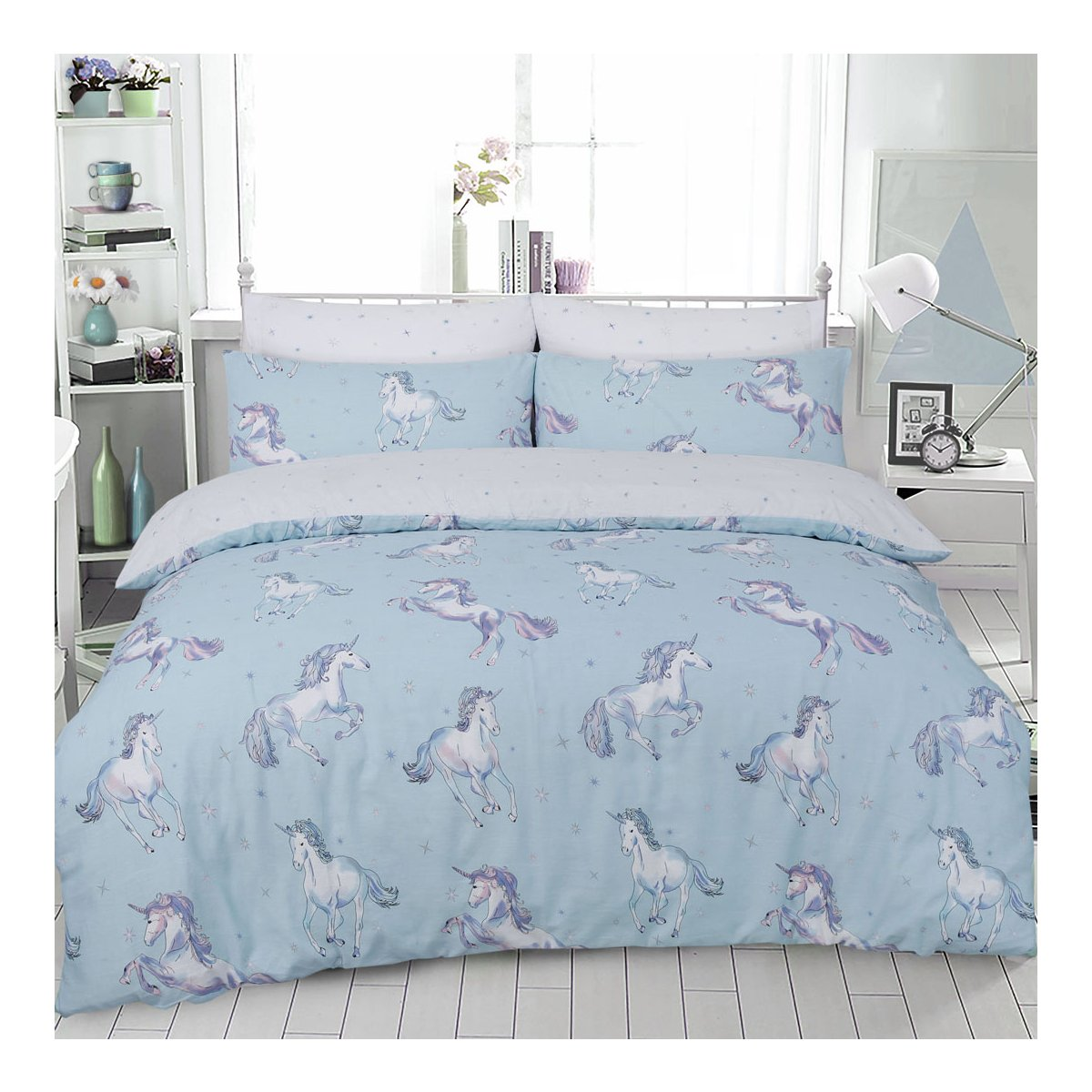 Paintly Unicorn Duckegg Bedding - Reversible Duvet Cover and Pillowcase Set