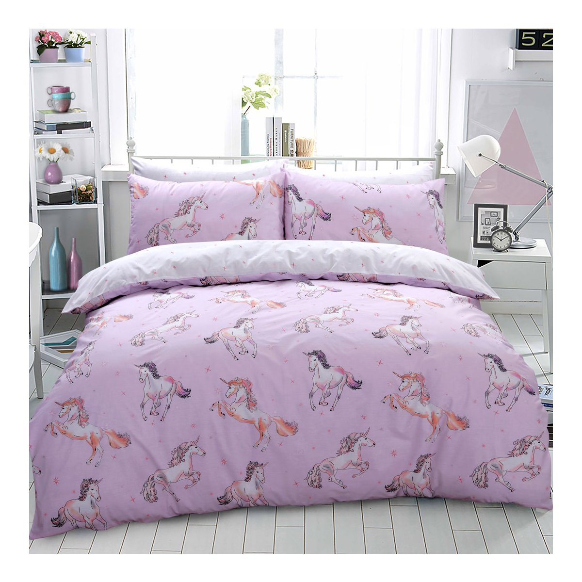 Paintly Unicorn Pink Bedding - Reversible Duvet Cover and Pillowcase Set